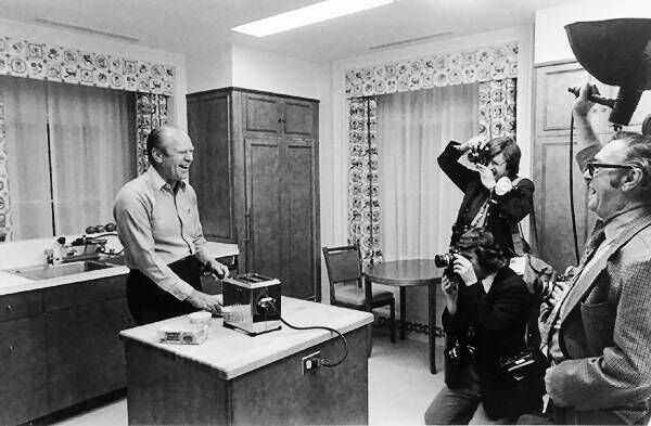 President Ford in the residence's kitchen. Picture: Life magazine