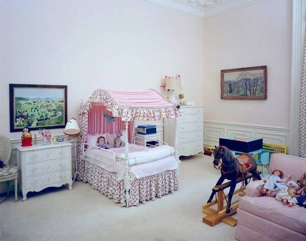 The East bedroom is usually home to the president's children, including Caroline Kennedy, whose room is pictured here.