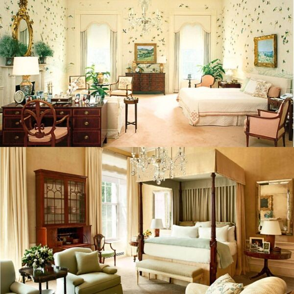 The main bedroom as decorated by the Reagans in 1981 and the Obamas in 2016.