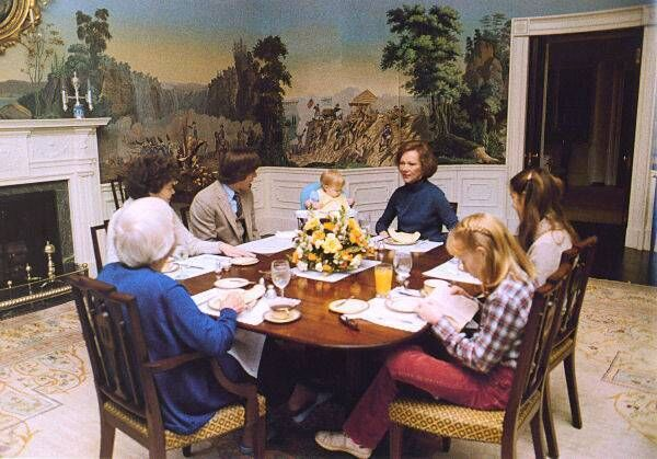 The Carter family often made use of the residence's informal dining room.