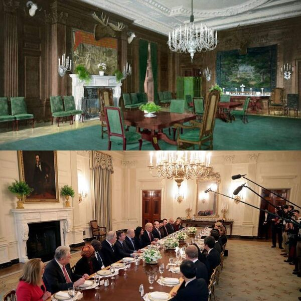 The State Dining room as decorated by President Roosevelt in 1902 and President Trump, who changed little from Michelle Obama's renovation.