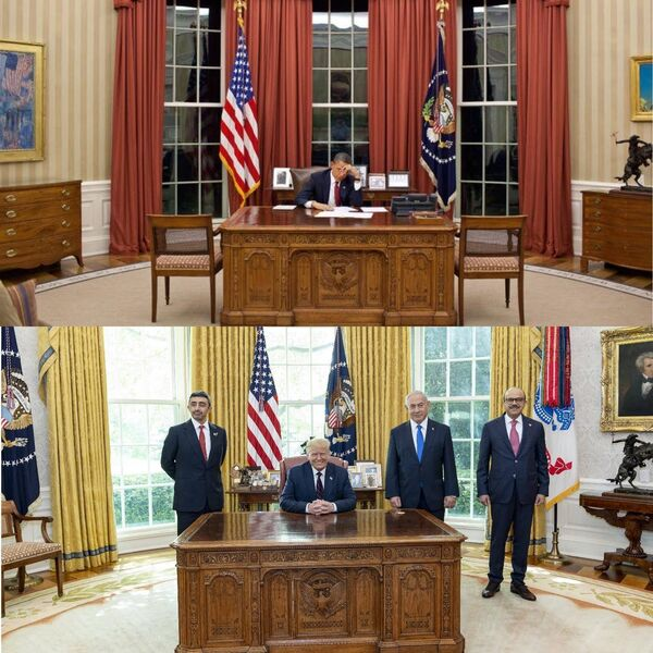 The Oval Office as decorated by Presidents Obama and Trump. Pictures: Getty Images