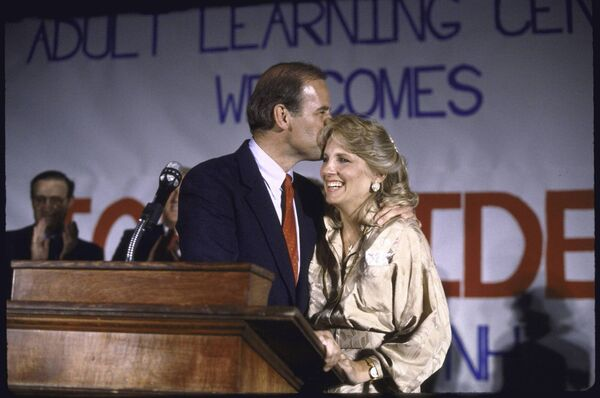 Joe and Jill Biden during his first run for President in 1988. Picture: Getty Images.
