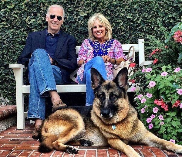 Joe and Jill Biden with their first dog Champ. Picture: Biden Campaign.