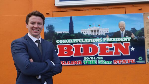 Mayo county councillor Mark Duffy in front of a mural in Ballina, Co Mayo, celebrating Joe Biden's inauguration as the 46th president of the United States.	Picture: Niall Carson/PA