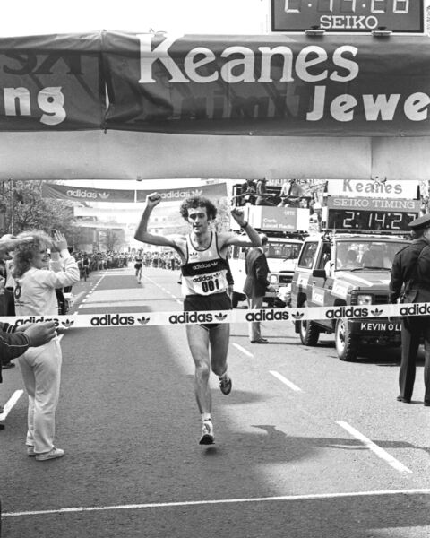 Jerry Kiernan crosses the line in the 1984 Cork Marathon. File photo