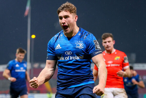 Leinster's Jordan Larmour celebrates after scoring the winning try. Picture: INPHO/Dan Sheridan