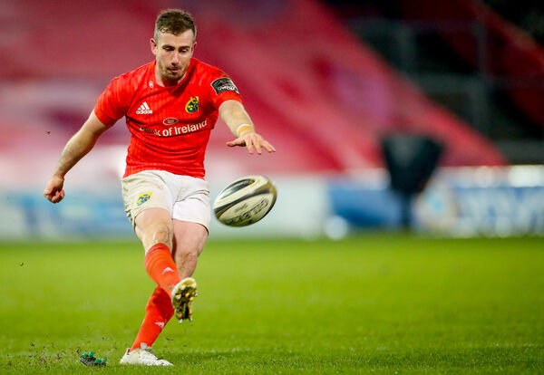 Munster's JJ Hanrahan takes a kick. Picture: INPHO/James Crombie