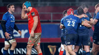 Tadhg Beirne dejected as Leinster players celebrate at the full time whistle 23/1/2021
