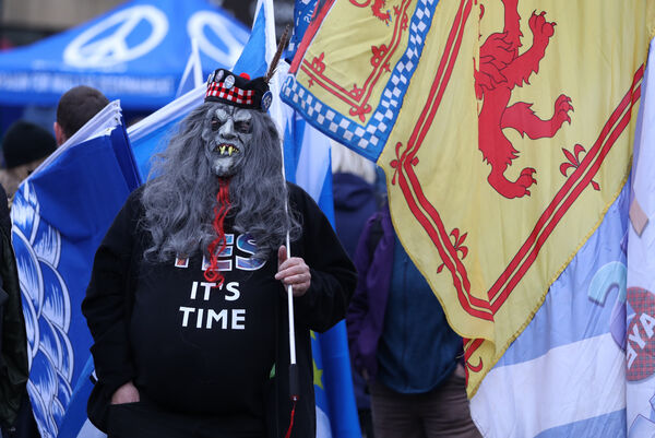 Participants at the Indyref 2020 rally, hosted by the National newspaper, in George Square in Glasgow.