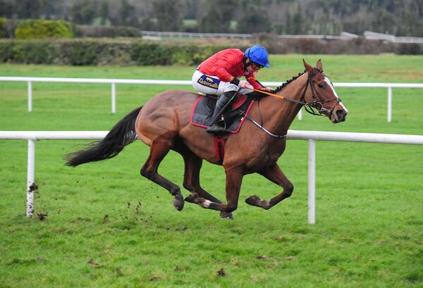 Sir Gerhard and Jamie Codd, wearing the colours of Cheveley Park stud, on his way to winning at Navan last month. Picture: Healy Racing