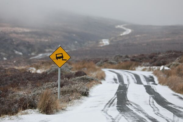 Snow near the Sally Gap in Wicklow on Sunday. Picture: Collins