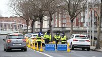 Garda checkpoint Merchants Quay Dublin