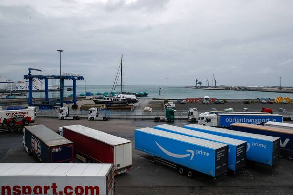 Amazon trailer trucks are parked at Cherbourg Harbour. Picture: Reuters/Gonzalo Fuentes