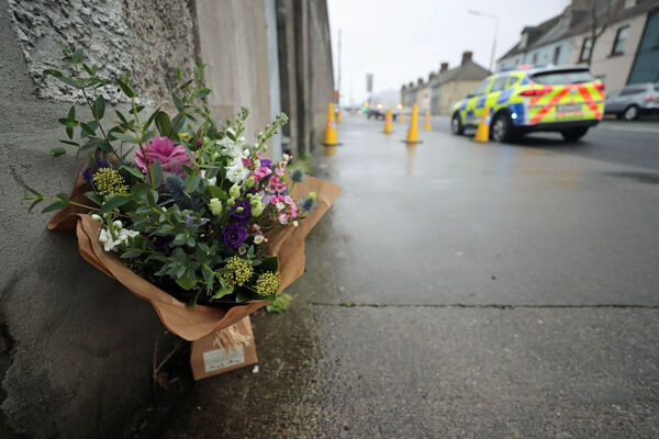 Flowers left at East Wall Road, north Dublin. Picture: Niall Carson/PA Wire