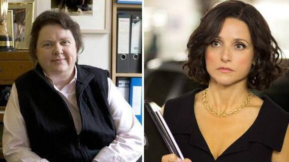 Left, pioneering Irish journalist Mary Raftery; right, Julia Louis-Dreyfus in Veep.