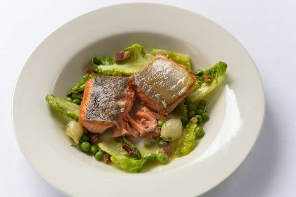 Sea Trout with Peas á la Francaise