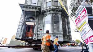Crowds gather to watch 139-year-old house move through San Francisco