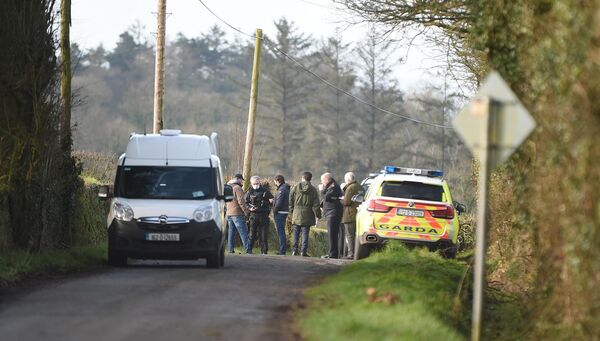 Gardaí at the scene near Killacluig church, North Cork this morning. Picture: Larry Cummins