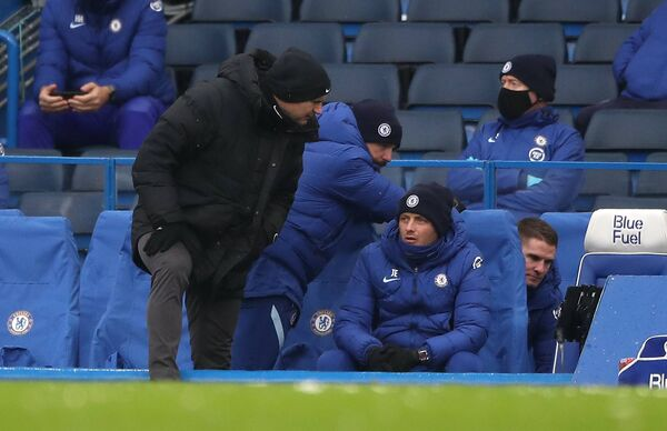 Former Chelsea manager Frank Lampard (left), assistant head coach Jody Morris, assistant coach Joe Edwards, and first team coach Anthony Barry at Stamford Bridge.