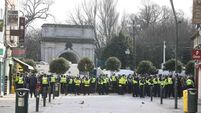 Clashes break out in Dublin as gardaí block anti-lockdown protest