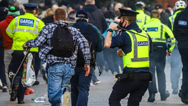 23 people were arrested after an anti-lockdown protest turned violent in Dublin on Saturday. File picture.