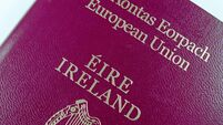 close up picture of the cover of Irish passport