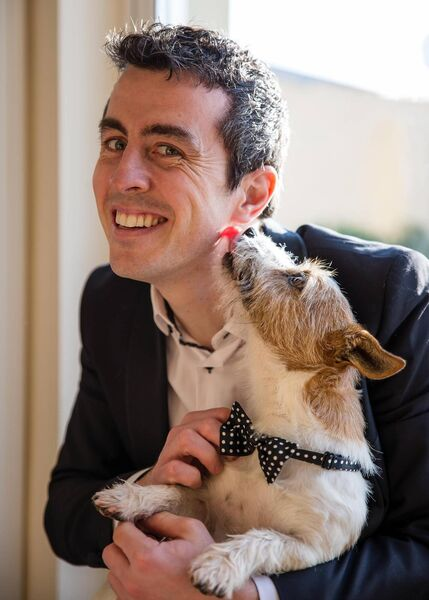 Groom Jason Kiernan with Nipper