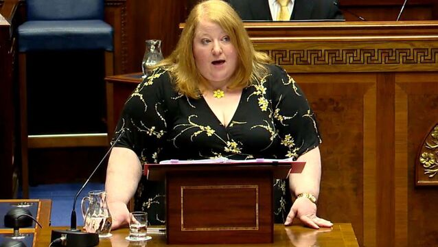 <p>Naomi Long was answering questions at Stormont. Picture: NI Assembly/PA</p>