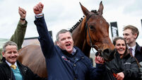 Gordon Elliott celebrates after winning with Envoi Allen 11/3/2020