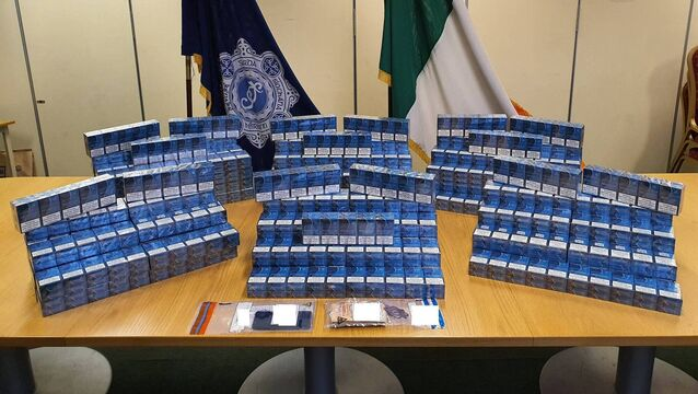 <p>A man in his 40s was arrested under money laundering legislation following the seizure of cigarettes worth €20,000 in Blanchardstown. Photo: Garda Traffic</p>