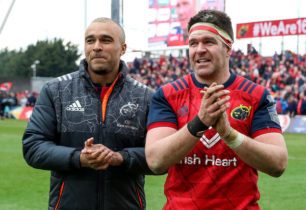 Munster's Simon Zebo and Billy Holland celebrate after defeating Toulon in a Champions Cup game at Thomond Park in 2018. Picture:INPHO/Gary Carr