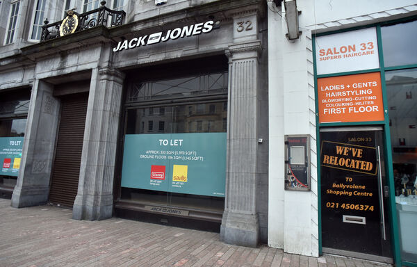 Former Jack & Jones at Nos 32-33 St Patrick's Street is available on a short term lease. Picture: Eddie O'Hare
