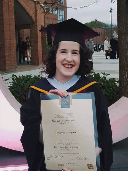 Catherine Gallagher graduating with her BA in Journalism from DCU.