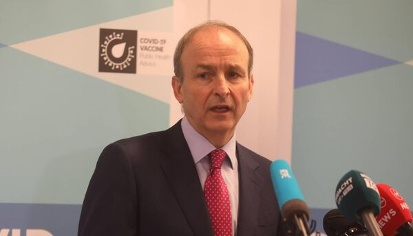 Taoiseach Micheál Martin visits the Ballybrit Vaccination Centre in Galway where the Covid-19 vaccine is currently being provided to healthcare workers. Picture: Aengus McMahon