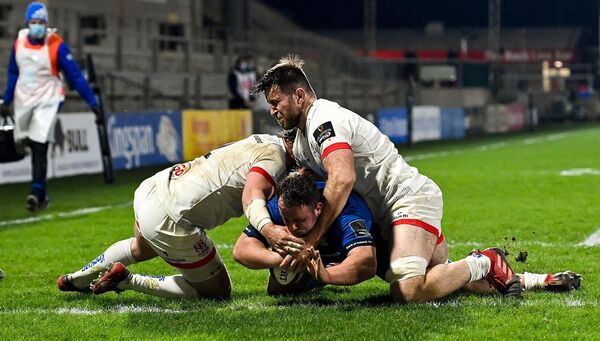 Ed Byrne scores Leinster's third try during the Guinness PRO14 match against Ulster at Kingspan Stadium in Belfast. Picture: Ramsey Cardy/Sportsfile
