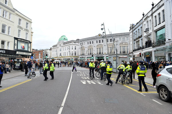 There was a large visible Garda presence at the Cork City         centre Anti-Lockdown protest on St Patrick's Street on Saturday         afternoon. Picture: Larry Cummins