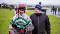 Davy Russell and Gordon Elliott after the race held behind closed doors at Navan Racecourse 14/3/2020