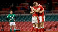 Leigh Halfpenny and Dan Biggar celebrate after the game 7/2/2021