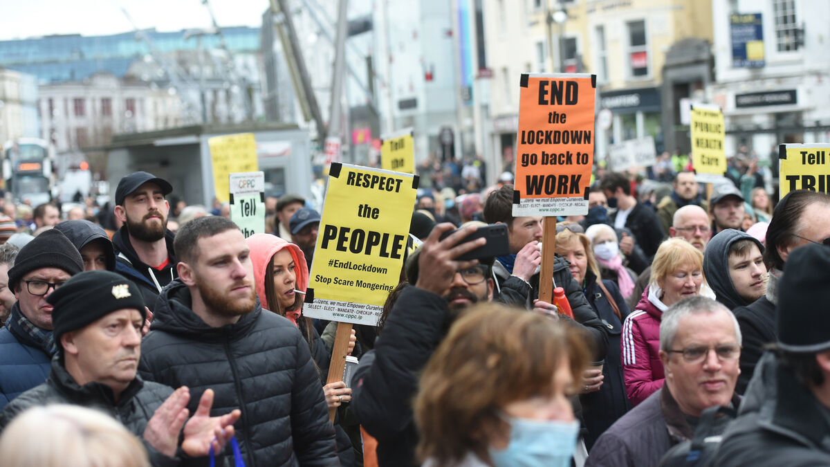 Large Anti Lockdown Protest Held in Cork Saturday May 01