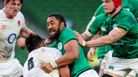 Billy Vunipola is tackled by Bundee Aki 20/3/2021