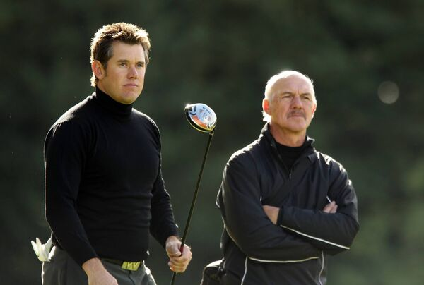 Lee Westwood of England with his coach Pete Cowen during a practice session at the Worksop Golf Club in September 2010. Cowen took Lee Westwood from a 'short and wild' hitter to arguably the best driver of the golf ball in the world. Picture: Getty Images