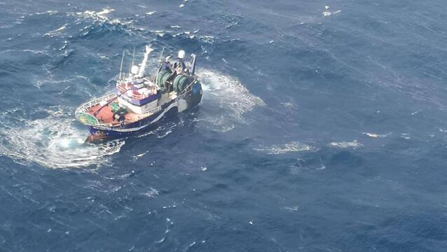 <p>The stricken Ellie Adhamh which lost power and began drifting some 75 nautical miles off the Cork coast</p>