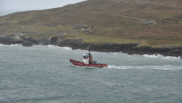 <p>The tug boat Nomad passing through the Dursey Sound as it returns to Castletownbere Harbour after the fishing vessel Ellie Adhamh it was monitoring sunk two miles north of Bull Rock at the entrance to Kenmare Bay. Picture: Dan Linehan</p>