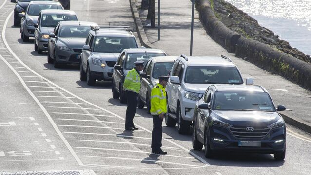 <p> A garda on duty at a Covid-19 checkpoint arrested the man on March 23. Picture: Dan Linehan</p>