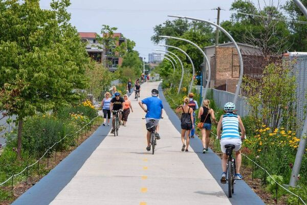 An abandoned railway has been given new life on Chicago's west side. The 606 is an 2.7-mile elevated park and trail that was built on what was once an industrial train line. Today, the popular trail features a chain of street-level parks, scenic look-out points, an observatory, and public art installations.