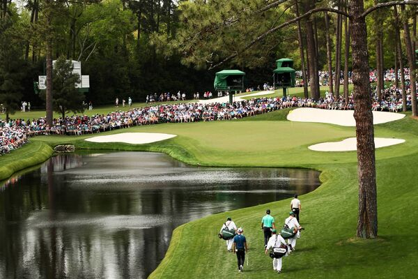The 16th green at Augusta National. (Photo by Jamie Squire/Getty Images)