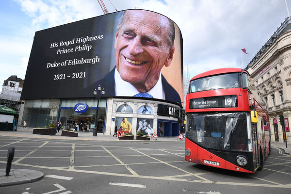 A tribute to the Duke of Edinburgh, which will be shown for 24 hours, on display at the Piccadilly Lights in central London, following the announcement of his death at the age of 99. Picture: Kirsty O'Connor/PA Wire