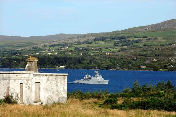 The LE Eithne in Castletownbere Harbour, view from Bere Island, West Cork. /Picture: Denis Scannell