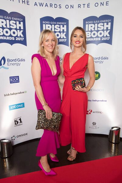 Caroline Foran at the Bord Gáis Energy Irish Book Awards 2017 with Helen James. Picture: Patrick Bolger